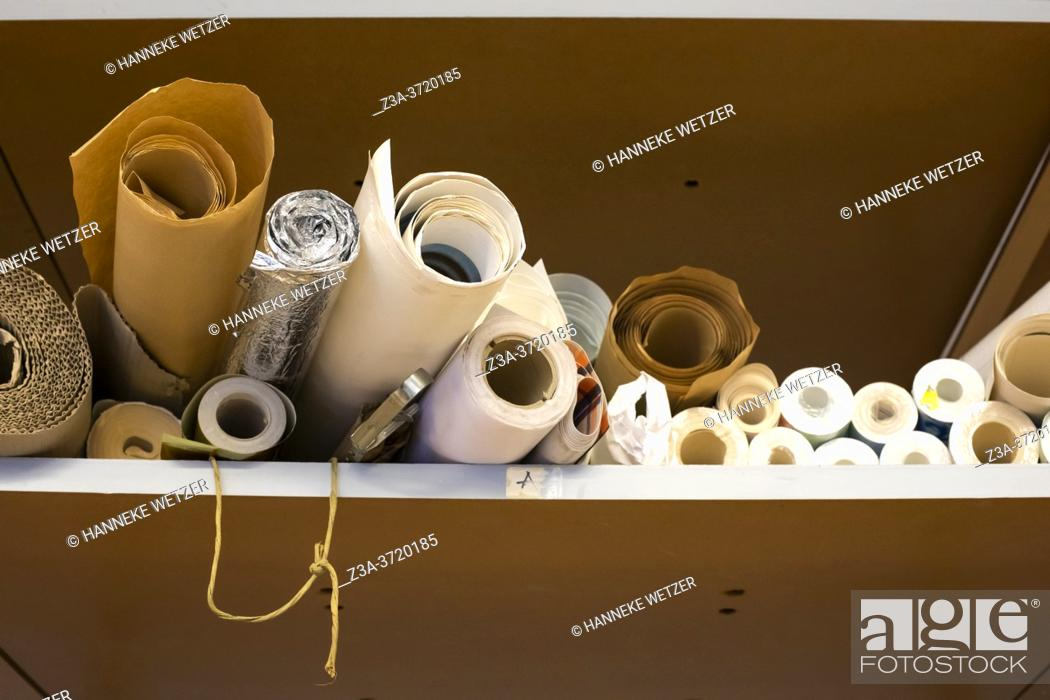 Stock Photo: Rolls of paper in an office at Strijp-S, Eindhoven, The Netherlands, Europe.