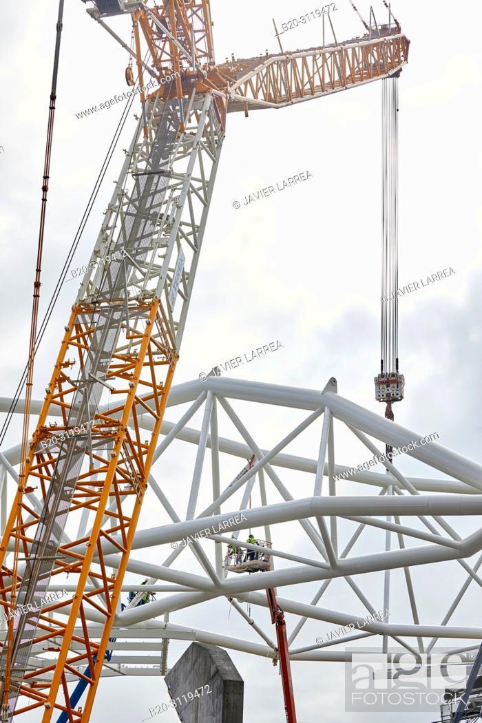 Stock Photo: Giant crane supporting metal structure, Truss Placement, Anoeta Stadium Cover, Amara, Donostia, San Sebastian, Gipuzkoa, Basque Country, Spain.