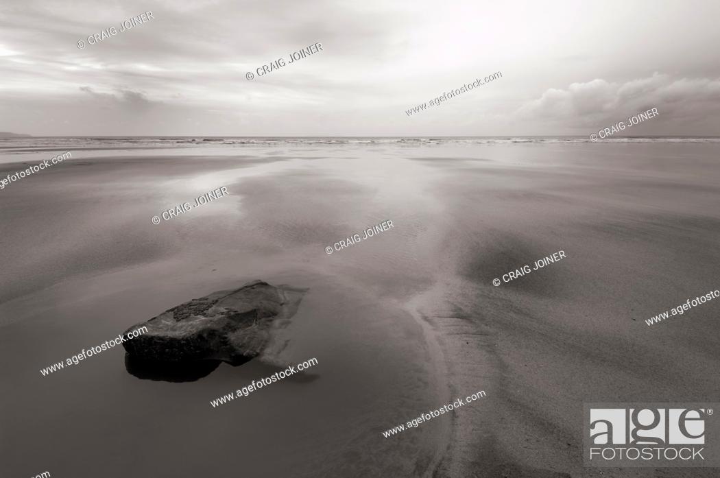 Stock Photo: Winter cloud over Westward Ho! beach on the North Devon coast, England, United Kingdom.
