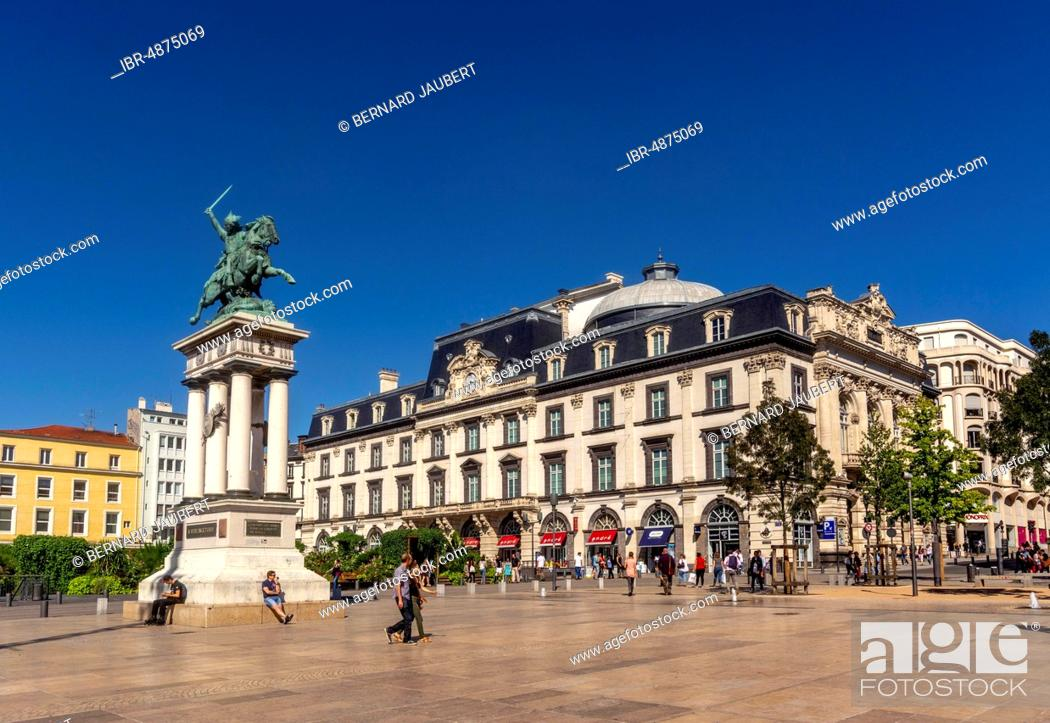 Stock Photo: Statue of Vercingetorix, Statue of Vercingetorix, Place de Jaude, Clermont Ferrand, Puy de Dome department, Auvergne-Rhone-Alpes, France.