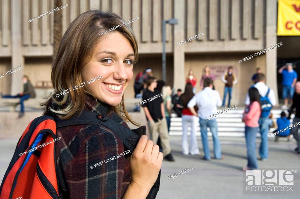 Stock Photo: Female University student outdoors.