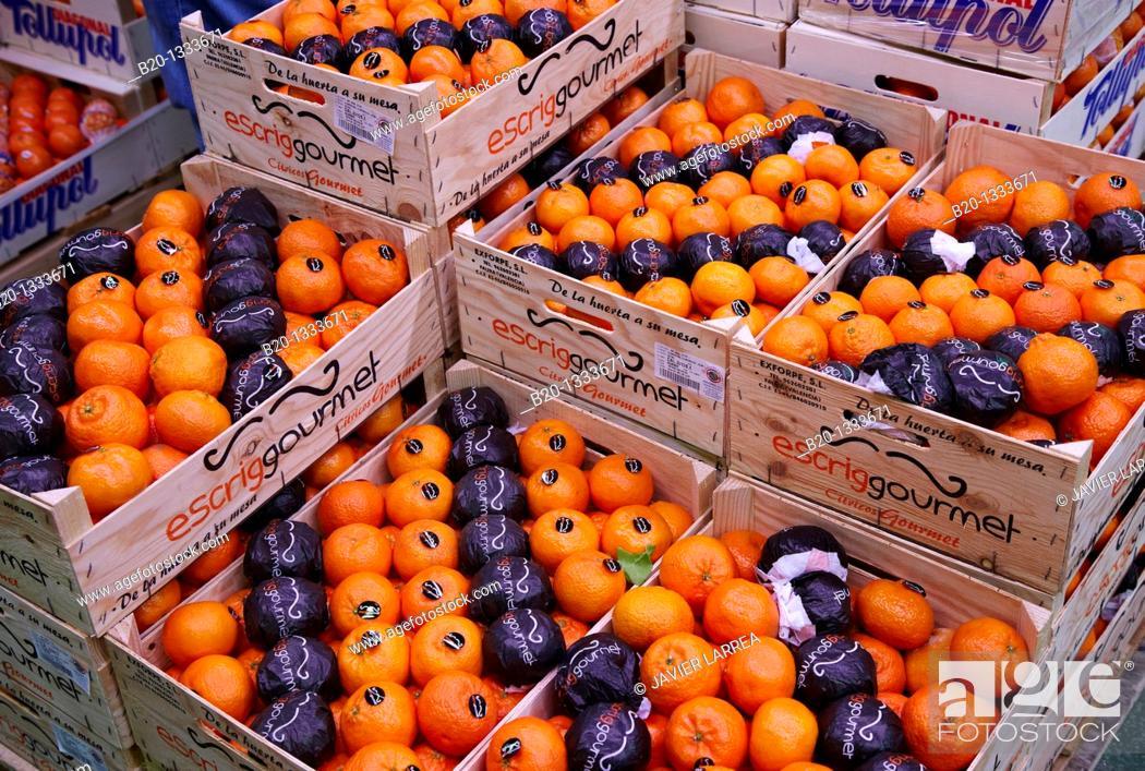 Stock Photo: Tangerines, Mercabilbao fruits and vegetables wholesale market, Basauri, Bilbao, Bizkaia, Euskadi, Spain.