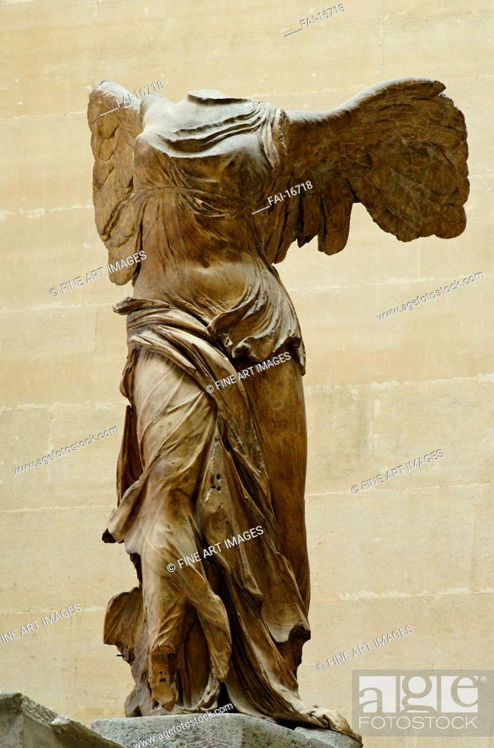 Stock Photo - Nike of Samothrace. Antique Art . Marble. Classical  Antiquities. ca 190 BC. Louvre, Paris. Sculpture