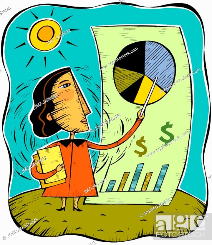 Stock Photo: An illustration of a woman pointing to a pie chart.