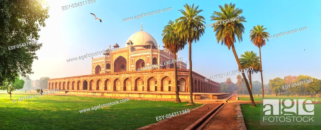 Stock Photo: Humayun's Tomb, a famous UNESCO object in New Delhi, India.