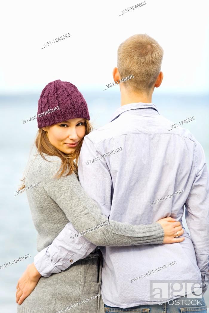Stock Photo: Portrait of a couple by the sea.