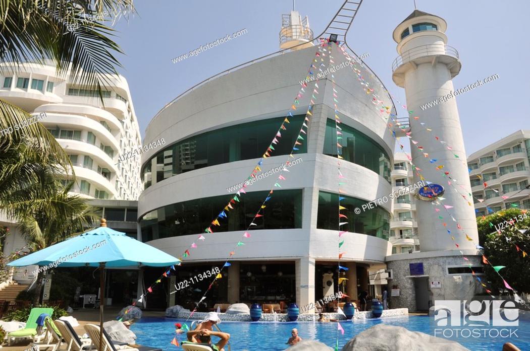 Stock Photo: Pattaya (Thailand): A-ONE The Royal Cruise Hotel, ship-shaped hotel at Pattaya Beach.