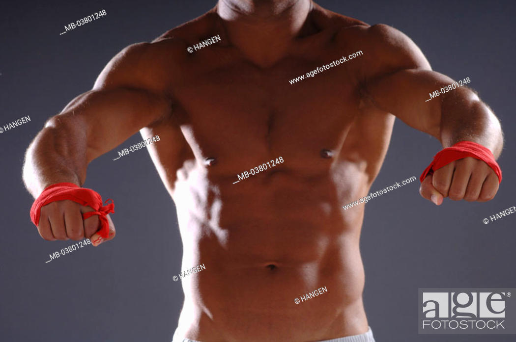 Man, muscular, upper bodies free, Hands, bandages, fight pose ...