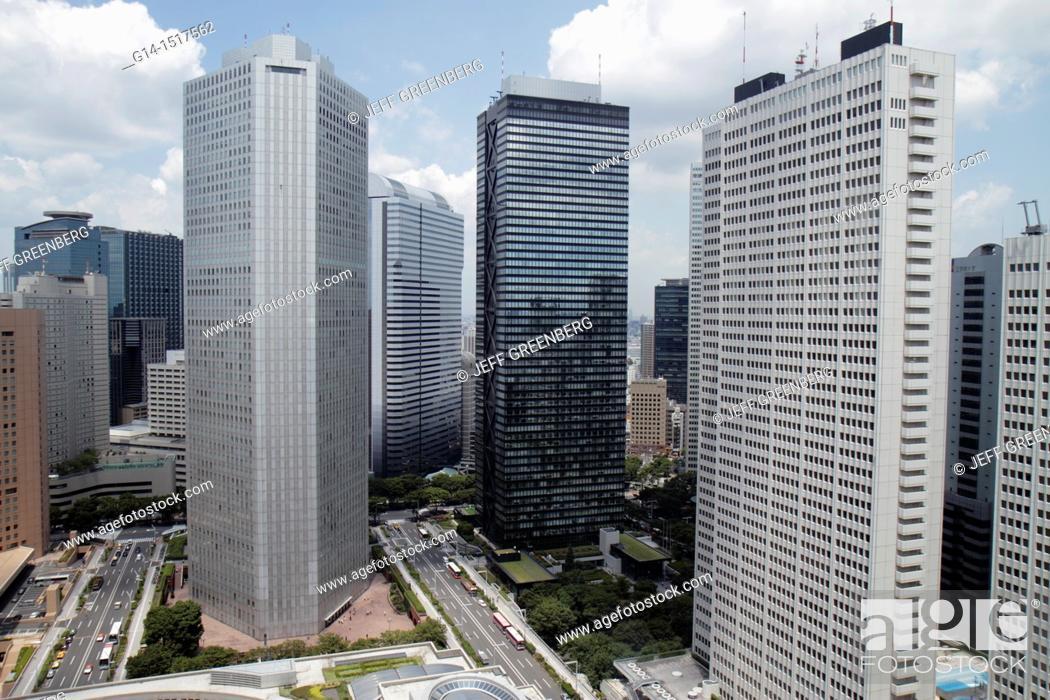Stock Photo: Japan, Tokyo, Shinjuku, skyscrapers, city skyline, Mitsui Building, Sumitomo Building, Keio Plaza Hotel North Tower,.