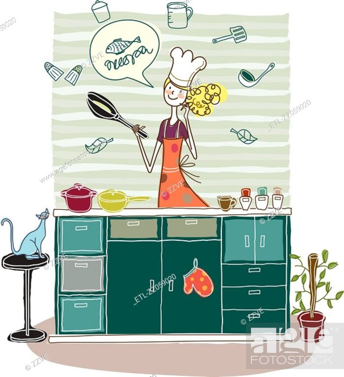 Stock Photo: Woman holding frying pan in kitchen.