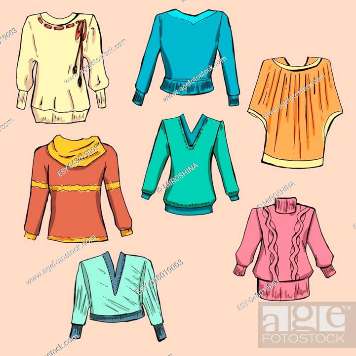 Stock Vector: Fashion set. Different sweaters, jackets. illustration in hand drawing style.