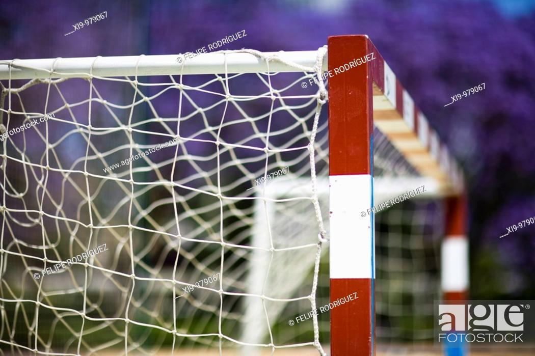 Stock Photo: Five-a-side football goal, Seville, Spain.
