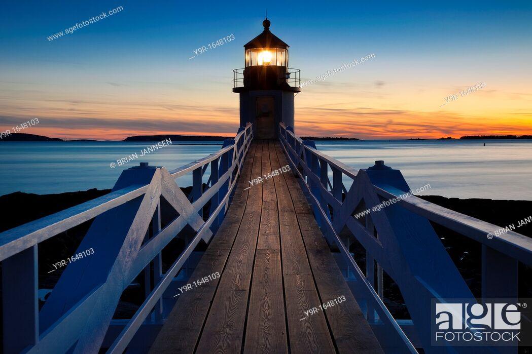 Stock Photo: Sunset at Marshall Point Lighthouse - built 1832, near Port Clyde Maine USA.