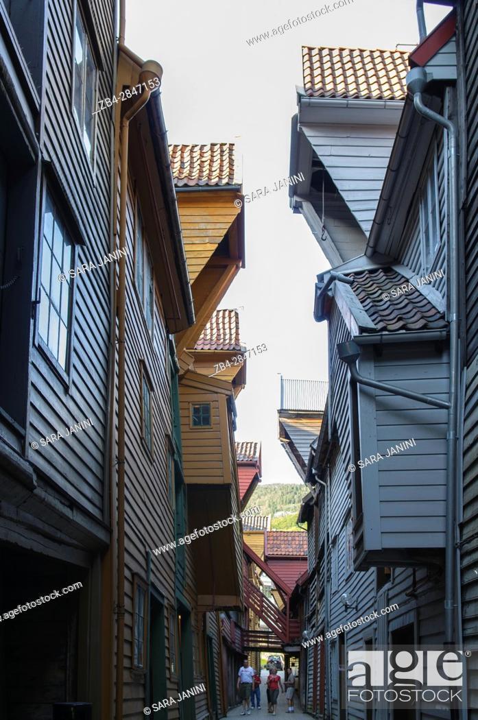 Stock Photo: Bryggen (UNESCO World Heritage site since 1979), Bergen, Hordaland, Fjords, Norway.