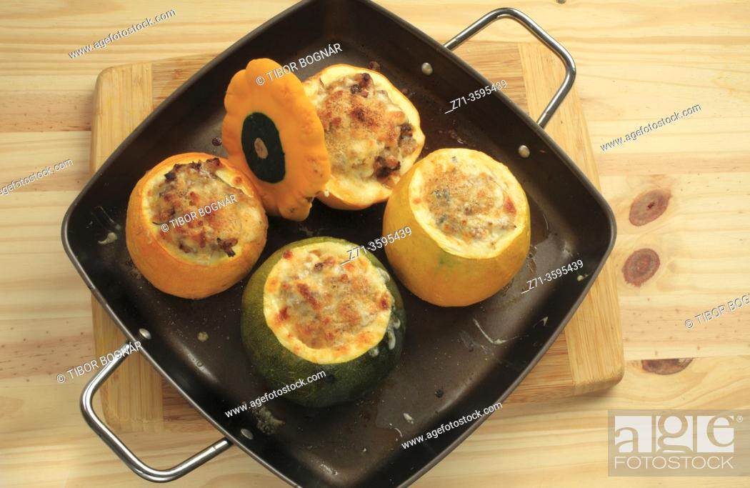 Stock Photo: Stuffed round zucchini.