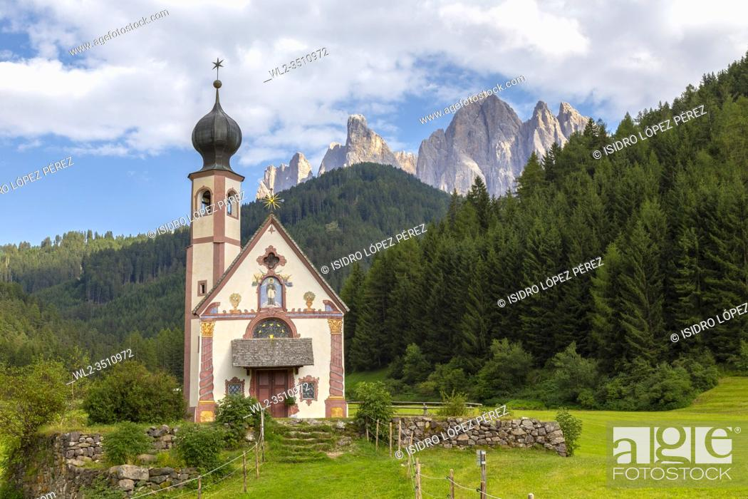 Stock Photo: The mountainous area of Dolomites holds spectacular places like the Church of St Johann (also known as San Giovanni) in the Funes Valley.