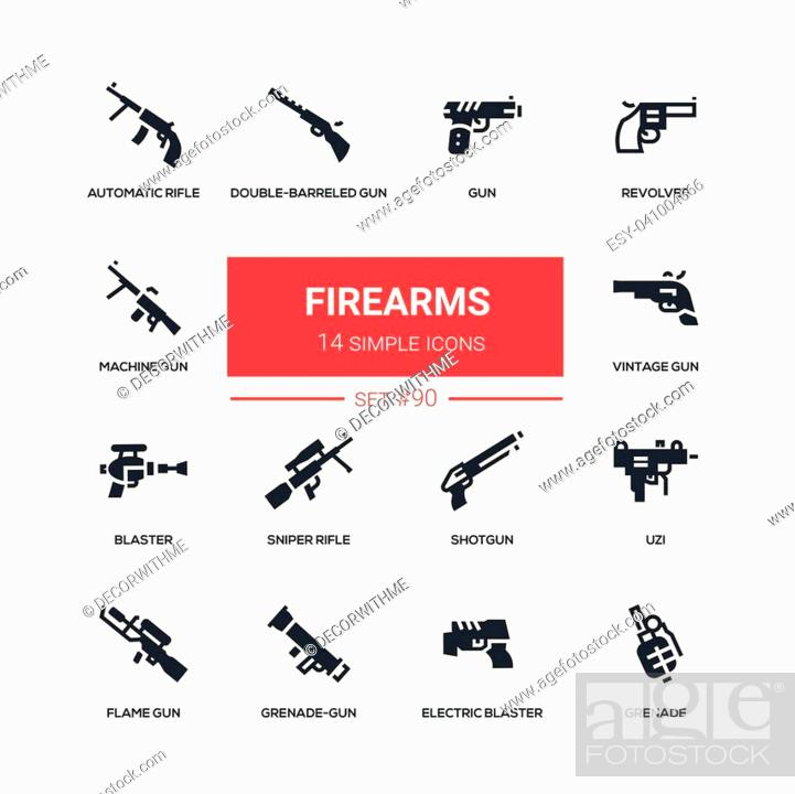 Firearms - flat design style icons set  High quality solid