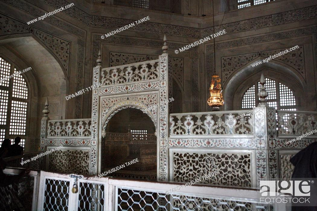 Stock Photo: Inner chamber contains cenotaphs of Mumtaz and Shah Jahan in Taj Mahal Seventh Wonders of World on the south bank of Yamuna river , Agra , Uttar Pradesh.