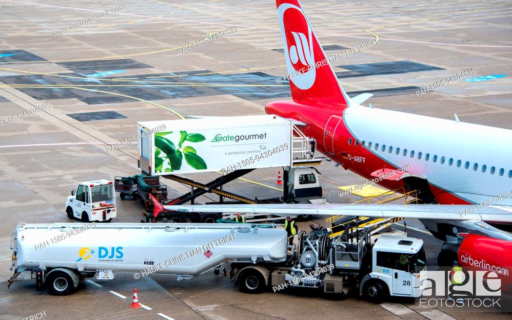 Stock Photo: An aircraft type Airbus A320-214 of the airline Air Berlin at the airport of Dusseldorf (Germany), 03 August 2017. | usage worldwide.