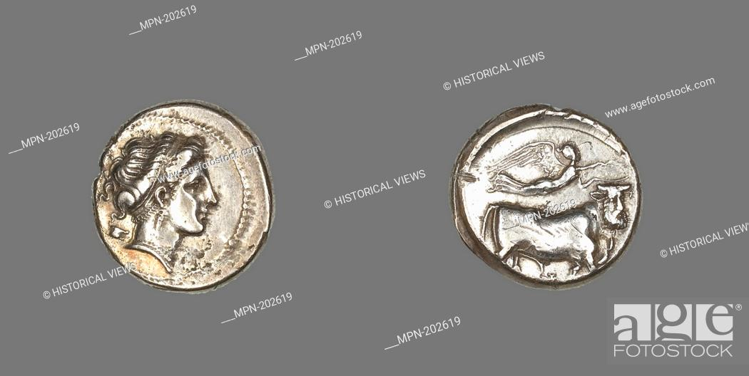 Stock Photo: Stater Coin Depicting the Nymph Parthenope - 325/241 BC - Greek, minted in Neapolis (Naples), Campania, Italy - Artist: Ancient Greek, Origin: Naples.