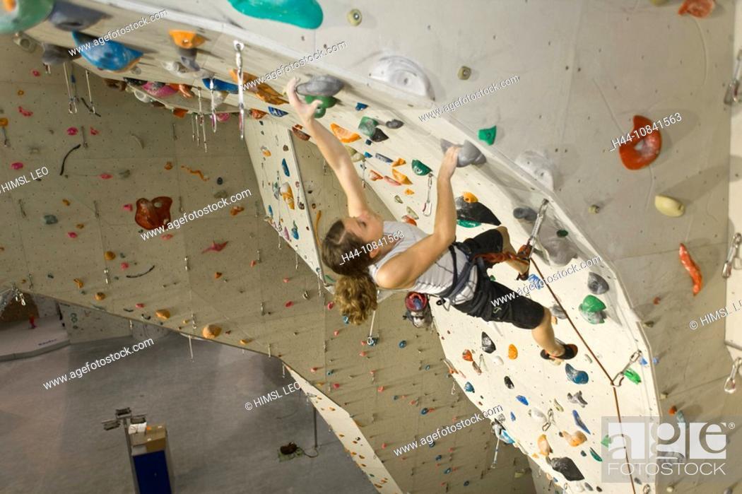 Stock Photo: Free climbing, indoor climbing, climbing, indoors, extreme, sports, Sportscenter, Sportscentre, artificial climbing wa.