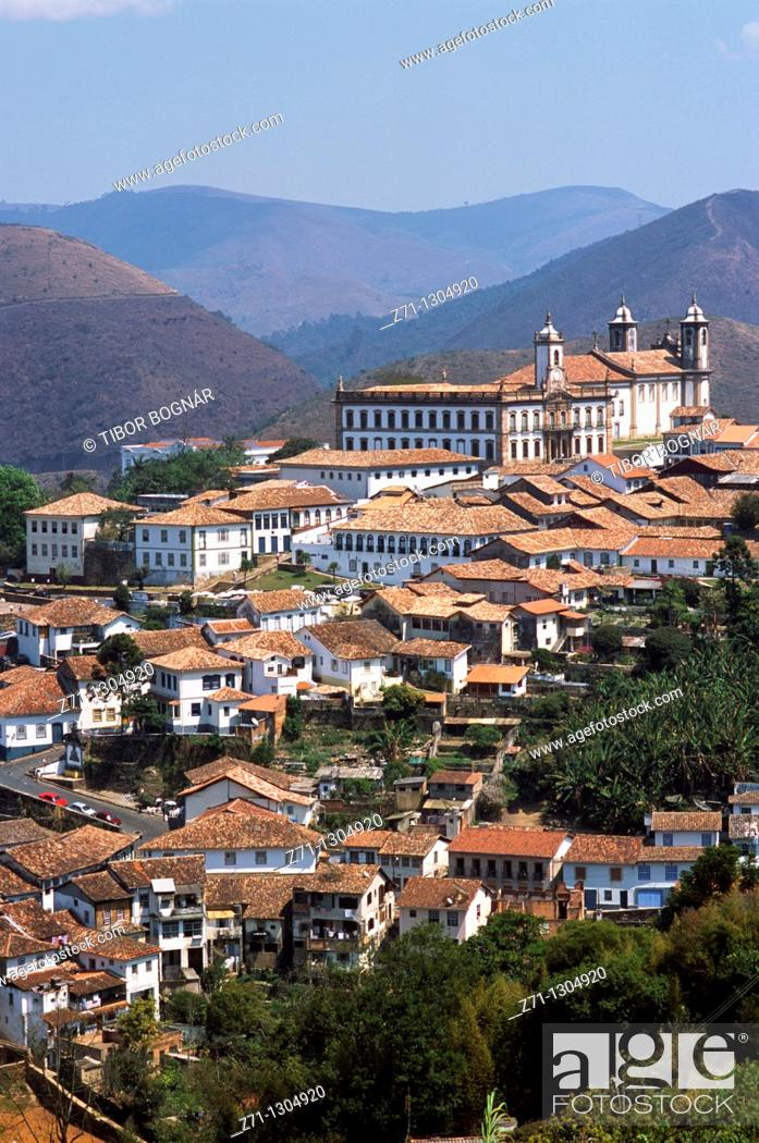 Stock Photo: Brazil, Minas Gerais, Ouro Preto, general view,.