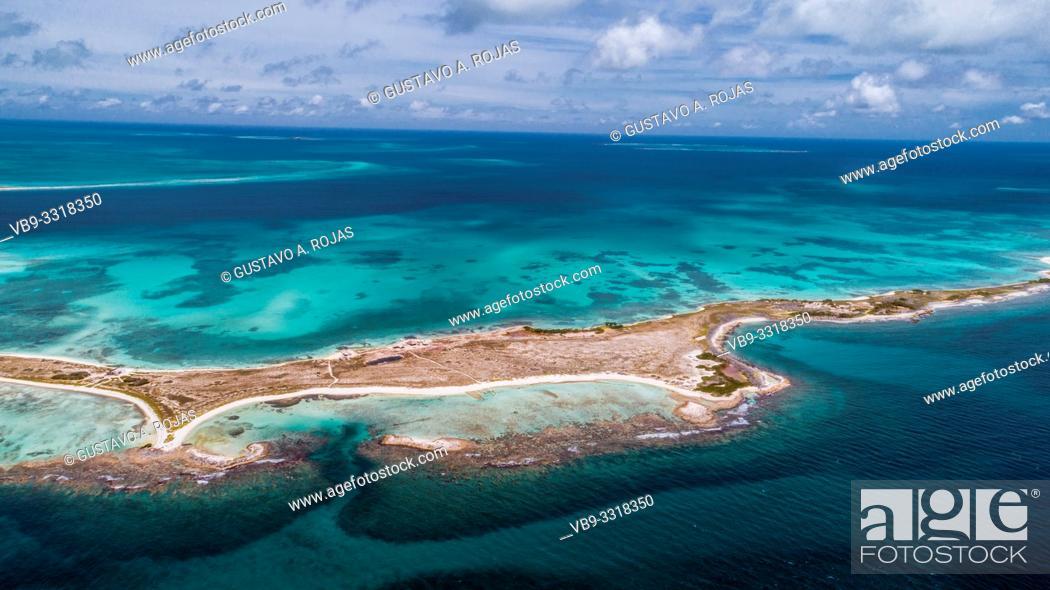 Stock Photo: Aerial View carenero Archipelago Los Roques Venezuela, .