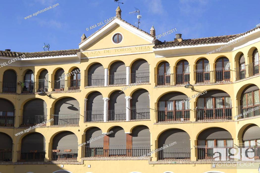 Stock Photo: Tarazona de Aragon is a historic town in Aragon Spain on March 3, 2018. Old Tarazona bullring.