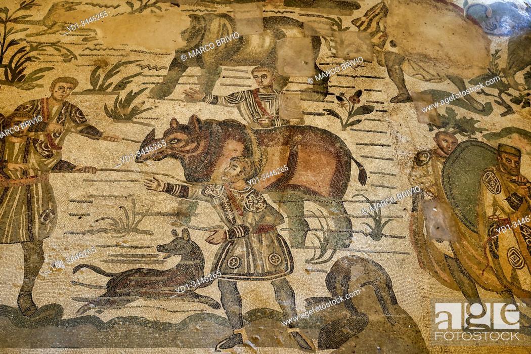 Stock Photo: Mosaics at Villa Romana del Casale (Roman Villa) in Piazza Armerina Sicily Italy.