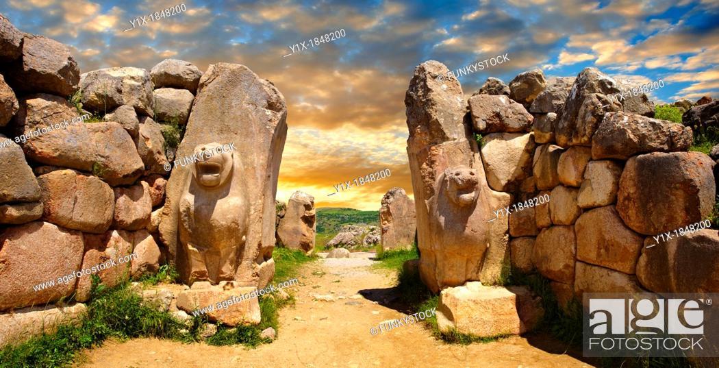 Stock Photo: Photo of the Hittite releif sculpture on the Lion gate to the Hittite capital Hattusa 14.