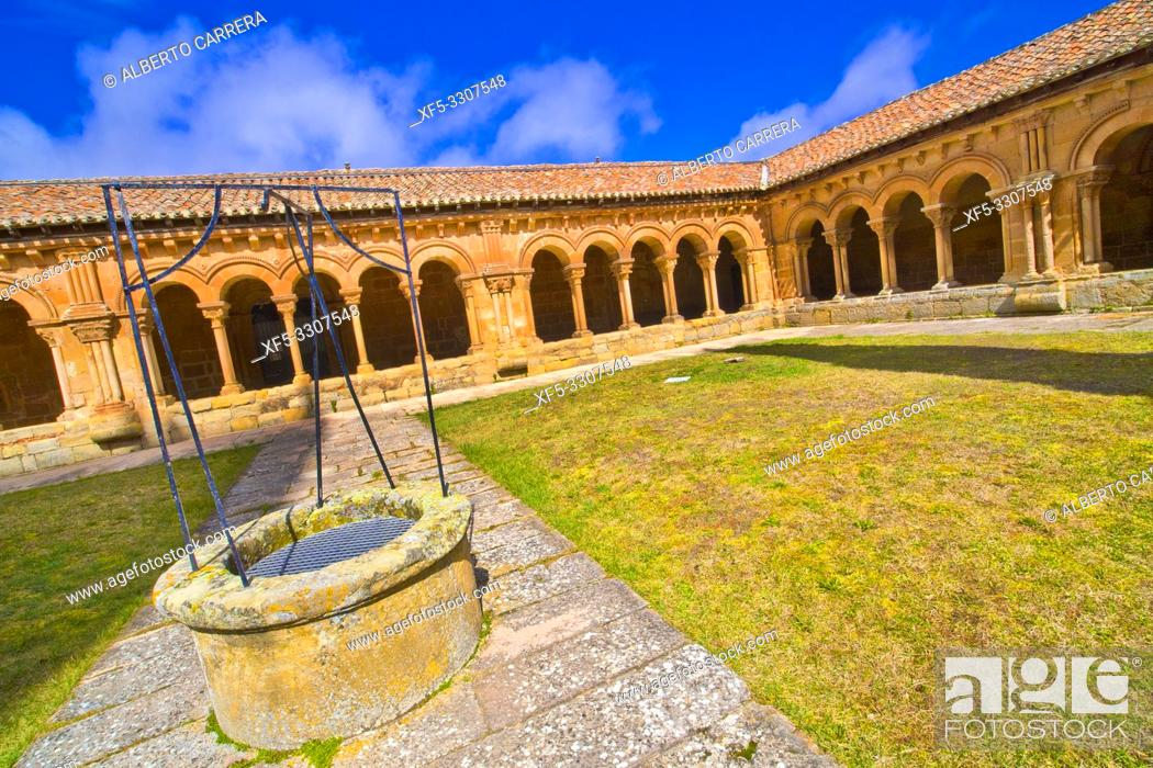 Stock Photo: Romanesque Cloister, Co-Cathedral of San Pedro, 12-17th Century Romanesque Style, Spanish Property of Cultural Interest, Soria, Castilla y León, Spain, Europe.