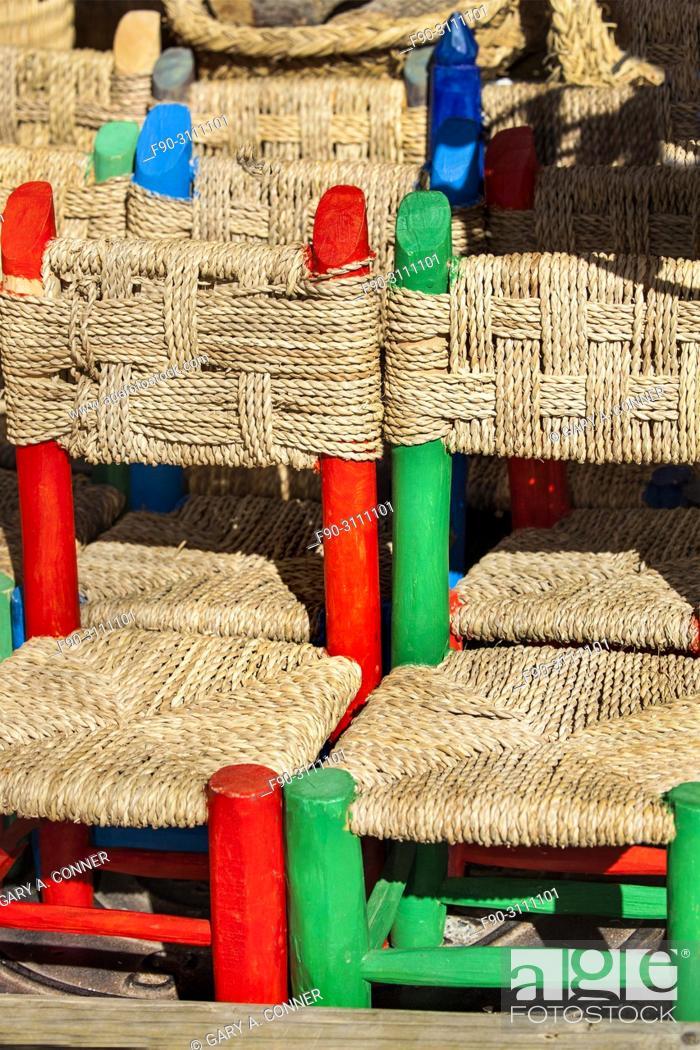 Imagen: Kids chairs, local handicrafts at mountain village of Capileira, Spain.