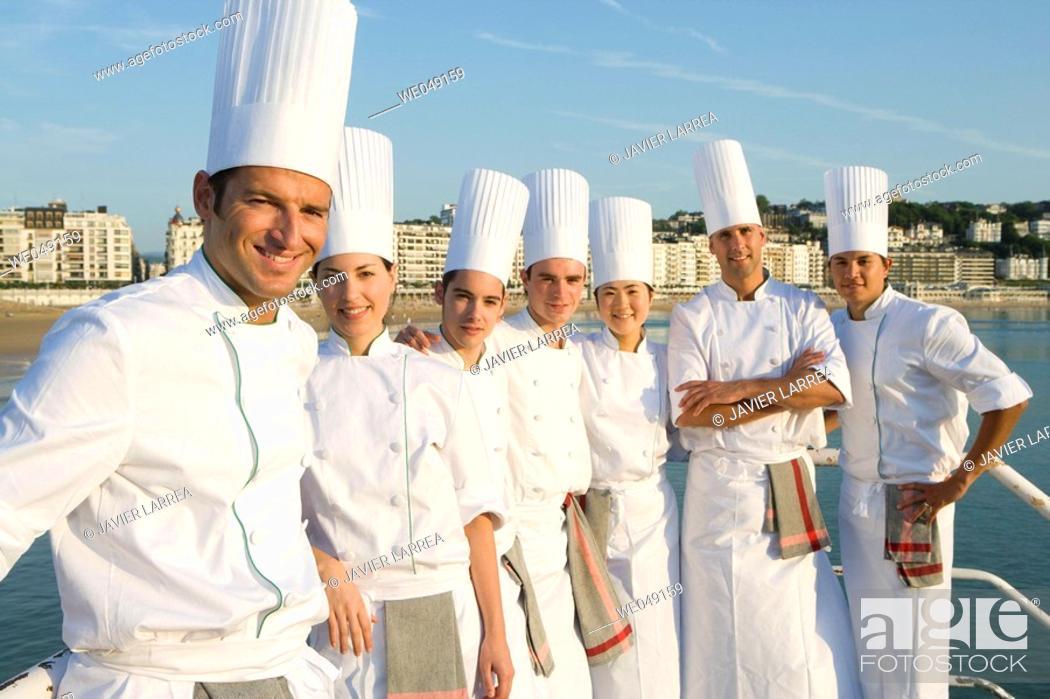 Stock Photo: Chefs at Bahia de La Concha. Luis Irizar cooking school. Donostia, Gipuzkoa, Basque Country, Spain.