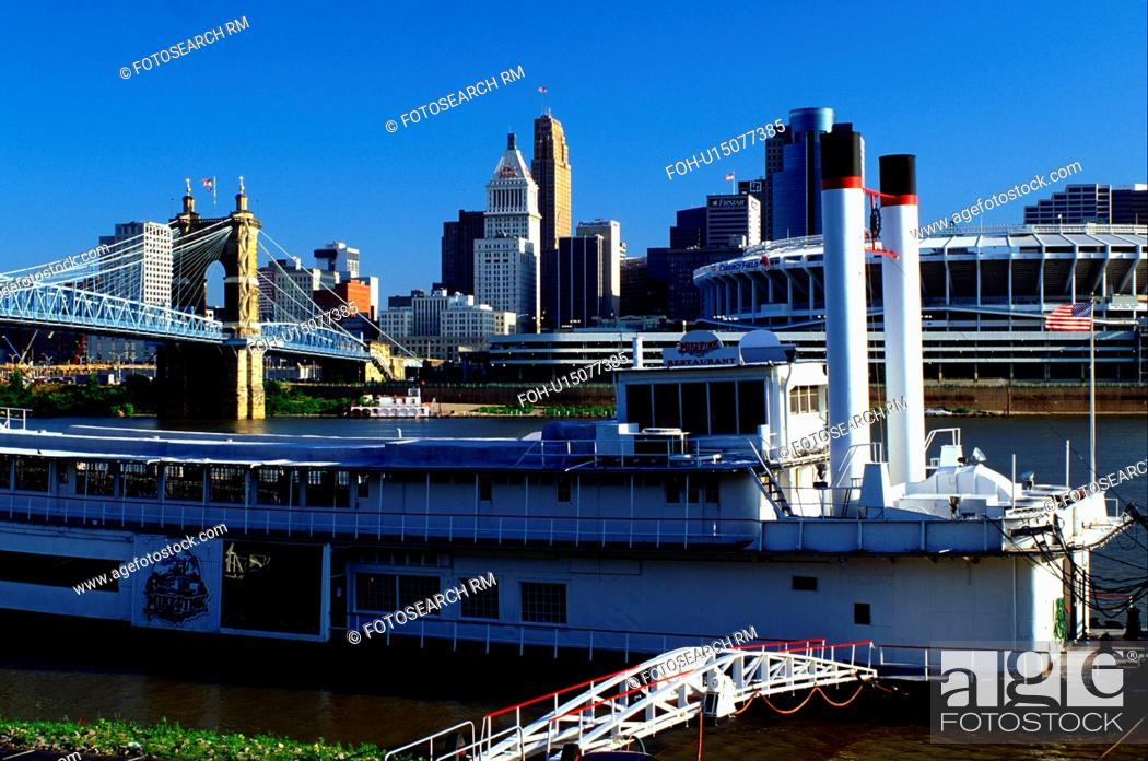 Stock Photo Riverboat Cincinnati Oh Ohio Downtown Skyline Mike Fink Restaurant A Stern Wheeler On Row Along The River