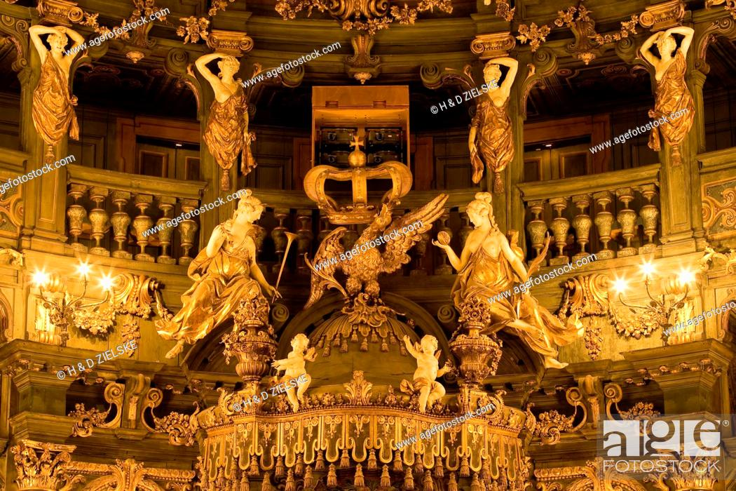 Stock Photo: Interior view of Margrave's Opera House, a Baroque opera house, Bayreuth, Bavaria, Germany, Europe.