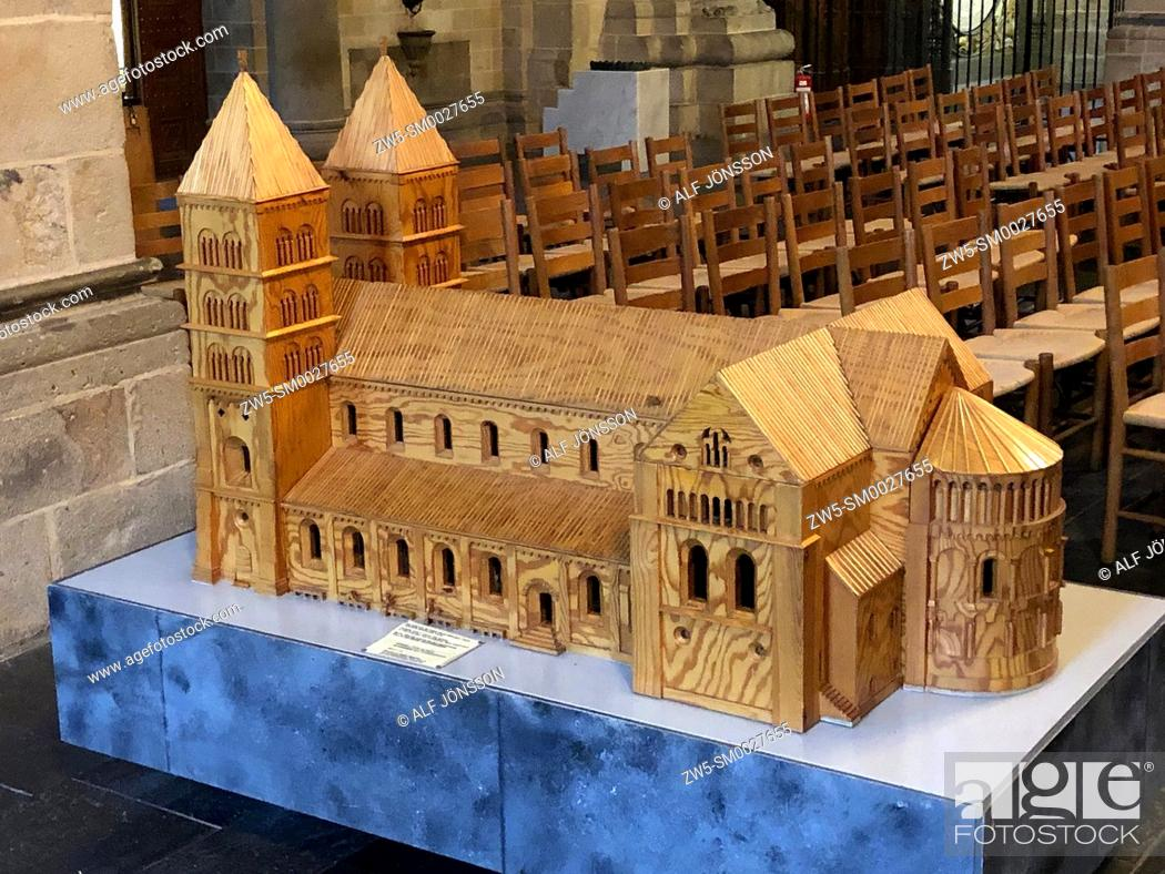 Stock Photo: Wooden model of Lund cathedral, Lund, Scania, Sweden.