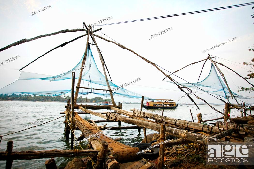 chinese fishing net, fort cochin, kochi, cochin, kerala, india