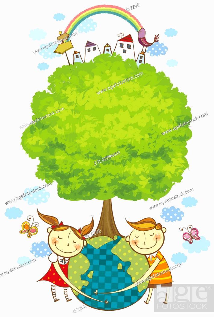 Stock Photo: Children loving the globe.