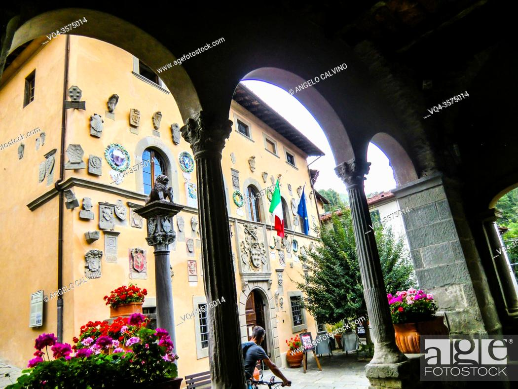 Stock Photo: Palazzo dei Capitani della Montagna, 1377, House of Baldo Altoviti, Coat of Arms made of stone and clay, Cutigliano, , Pistoia, Abetone, Italy, Europe.