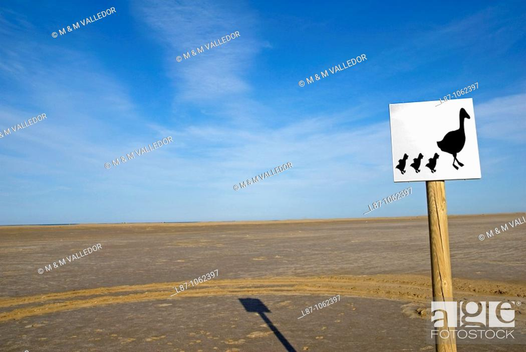 Stock Photo: Sign  Ebro delta wetland area, Tarragona province, Catalonia, Spain.