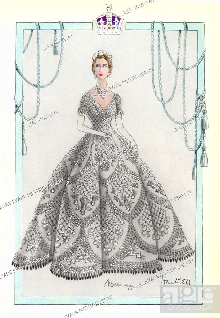 one of the eight submitted designs for the coronation dress of queen elizabeth ii by norman hartnell stock photo picture and rights managed image pic mev 10583149 agefotostock https www agefotostock com age en stock images rights managed mev 10583149