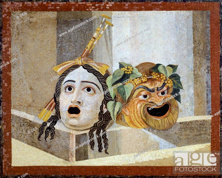 Stock Photo: Mosaic with Theatrical Masks, from Villa Adriana, Lazio. Roman Civilization.  Roma, Museo Capitolino.