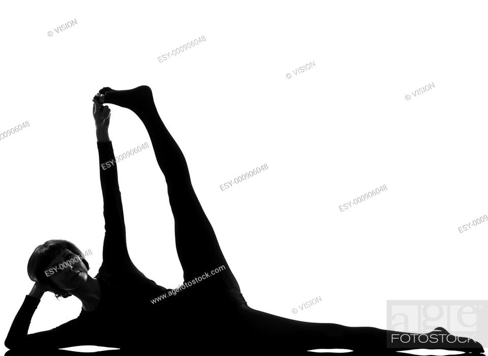 Stock Photo: woman Sleeping Vishnu Yoga Pose yoga pose posture position in silouhette on studio white background Side-Reclining Leg Lift.