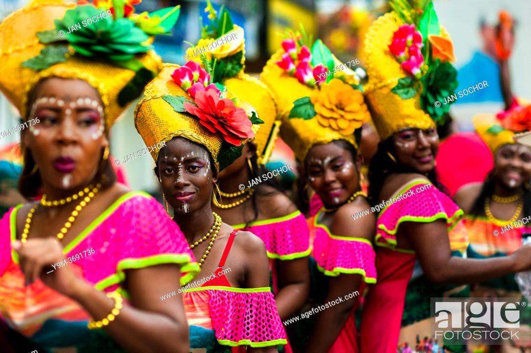 Stock Photo: Afro-Colombian dancers of the Pandeyuca neighborhood perform during the San Pacho festival in Quibdó, Colombia, 29 September 2019.
