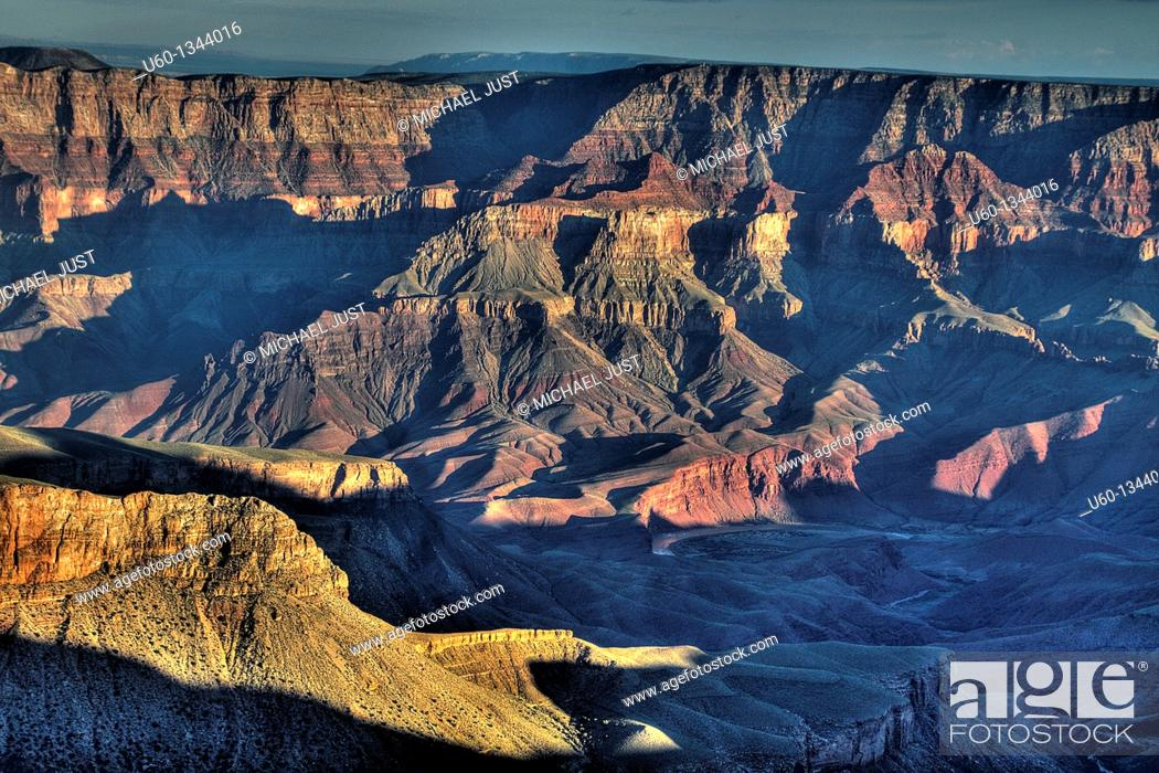 Stock Photo: The Grand Canyon at sunset from the North Rim in Arizona.