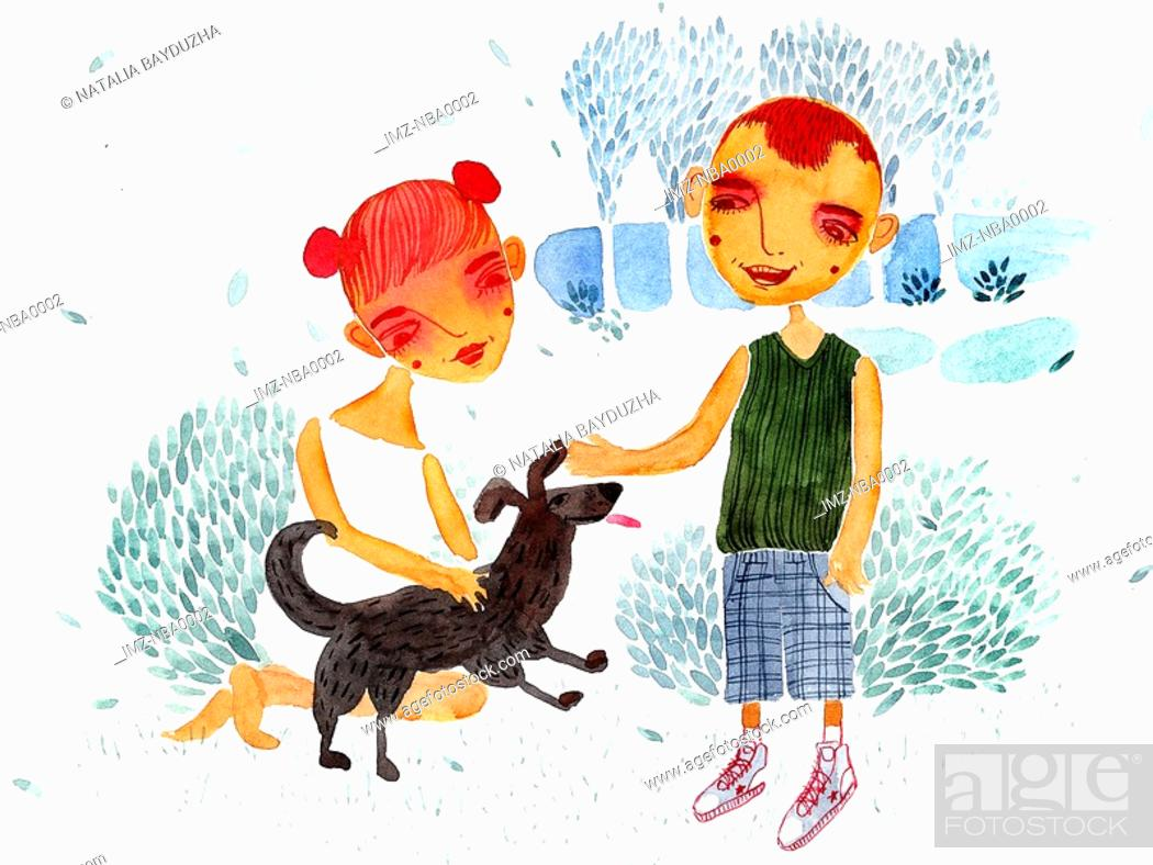 Stock Photo: Boy and girl playing with dog in park.