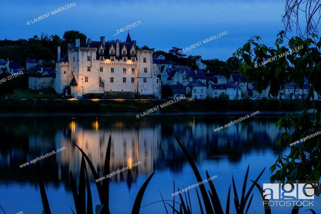 Stock Photo: Château of Montsoreau, was built on the Loire in 1455, at the confluence of the Loire and Vienne rivers. Montsoreau, Maine-et-Loire, Pays de la Loire region.