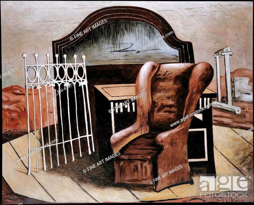 Stock Photo: Furniture in a Valley by De Chirico, Giorgio (1888-1978)/Oil on canvas/Surrealism/1928/Italy/Galerie Krugier & Cie/81, 5x100/Mythology.