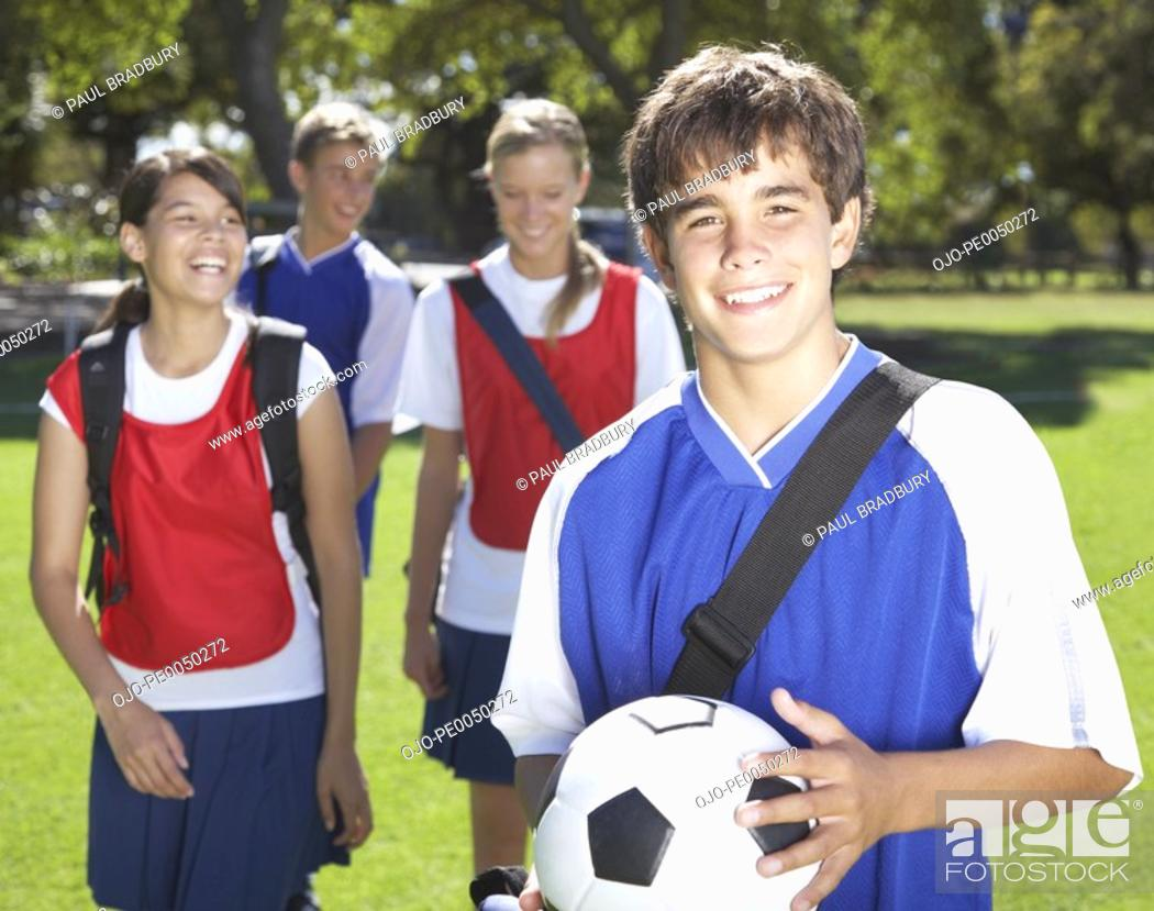 Stock Photo: Kids playing soccer.