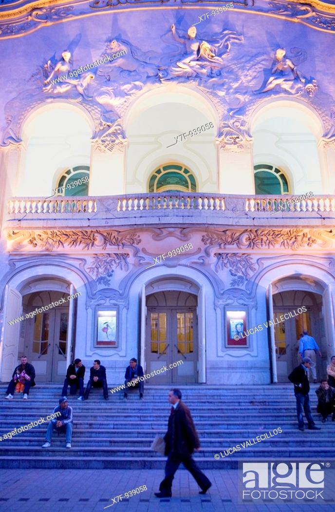 Stock Photo: Tunisia: City of Tunis  Theatre, in Habib Bourguiba Avenue.